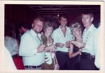 Kevin Trueman, Mary Shirley, Wayne Heathcote, Robyn and Frank Faulkner, Angoram Club, late 1960s